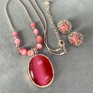 Jewelry - ❤️5 for $15 Pink Cat Eye/Silver Necklace Earrings